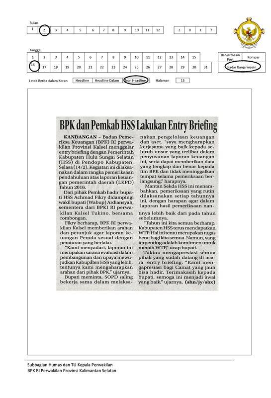 BPK dan Pemkab HSS Lakukan Entry Briefing